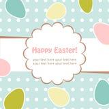 Huevos de Pascua que saludan la postal decorativa Fotos de archivo