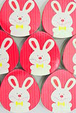 Huevos de Pascua rojos con los conejitos blancos Imágenes de archivo libres de regalías
