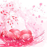 Huevos de Pascua rojos en fondo rosado Fotografía de archivo