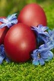 Huevos de Pascua rojos hermosos Foto de archivo