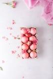 Huevos de Pascua rosados en fondo ligero Copyspace Todavía foto de la vida de las porciones de huevos de Pascua rosados Fondo con Imagen de archivo