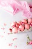 Huevos de Pascua rosados en fondo ligero Copyspace Todavía foto de la vida de las porciones de huevos de Pascua rosados Fondo con Fotografía de archivo