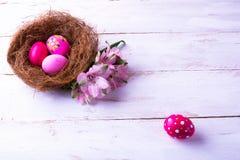 Huevos de Pascua rosados en una jerarquía foto de archivo libre de regalías