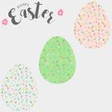Huevos de Pascua, sistema de los huevos de Pascua con el estampado de flores Fotografía de archivo libre de regalías