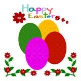 Huevos de Pascua, tarjeta de felicitación de Pascua Imagenes de archivo