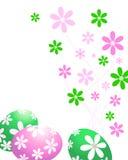 Huevos de Pascua verdes y rosados Foto de archivo