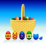 Huevos de Pascua y cesta - vector Stock de ilustración