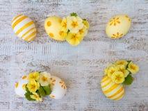 Huevos de Pascua y composición amarilla de las flores de la primavera Foto de archivo libre de regalías