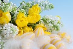 Huevos de Pascua y flores de la primavera Fotografía de archivo