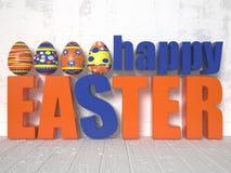 Huevos de Pascua y las palabras Pascua feliz 3d libre illustration