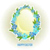 Huevos de Pascua y olvidar-yo marco de las flores Imágenes de archivo libres de regalías