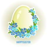 Huevos de Pascua y olvidar-yo marco de las flores Imagen de archivo libre de regalías