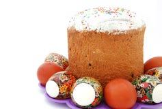 Huevos de Pascua y paskha Foto de archivo libre de regalías