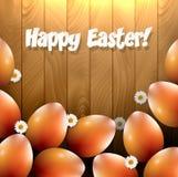 Huevos de Pascua y pequeñas flores Foto de archivo