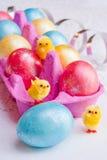 Huevos de Pascua y pollos divertidos. Foto de archivo