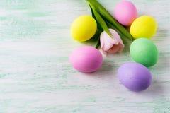 Huevos de Pascua y tulipán rosado Fotografía de archivo libre de regalías