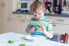 Huevos del colorante del muchacho del niño para el día de fiesta de Pascua Fotografía de archivo