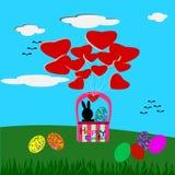 Huevos del conejito de pascua y de Pascua en la cesta, tarjeta de felicitación de Pascua Fotografía de archivo