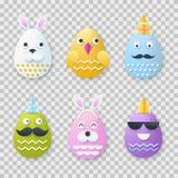 Huevos del corte del papel de Pascua 3d con las caras de los caracteres Elementos hechos a mano del diseño del arte del día de fi libre illustration