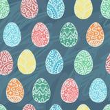 Huevos del este del bosquejo Ilustración del vector Modelo inconsútil del vector con el fondo colorido de los huevos Imagen de archivo