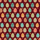 Huevos del este Ilustración del vector Vector el modelo inconsútil con los huevos coloridos en el fondo de BROWN Imagen de archivo