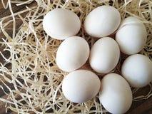 Huevos del heno en una granja de madera Imágenes de archivo libres de regalías