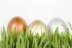 Huevos del oro, de la plata y del bronce Fotografía de archivo libre de regalías