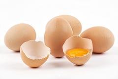 Huevos del pollo con el huevo quebrado Foto de archivo