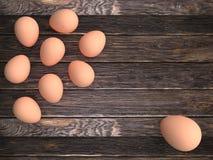 Huevos del pollo en fondo de madera ilustración del vector
