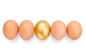 Huevos del pollo en una fila. Imagen de archivo libre de regalías