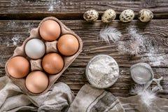 Huevos del pollo y de codornices en la tabla de madera Visión superior Imágenes de archivo libres de regalías