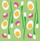 Huevos del vector, cebollas verdes, rábanos ilustración del vector