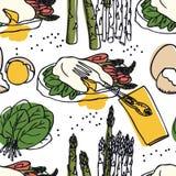Huevos deliciosos Benedicto de la colección de la comida con el modelo inconsútil del espárrago, del tocino y de la espinaca Fotos de archivo