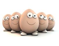 Huevos divertidos como caracteres de la historieta un 3d Fotografía de archivo libre de regalías