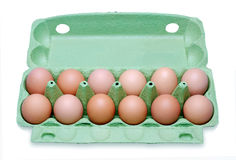 Huevos docena en un rectángulo fotografía de archivo