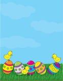 Huevos e hierba de Pascua stock de ilustración