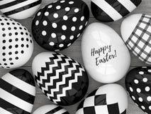 huevos elegantes de 3d Pascua con los modelos blancos y negros