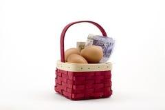 Huevos en cesta con el dinero Fotografía de archivo libre de regalías