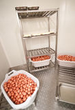 Huevos en conservación en cámara frigorífica Fotografía de archivo