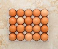 Huevos en el empaquetado de papel Imagenes de archivo
