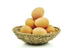 Huevos en el fondo blanco Fotografía de archivo libre de regalías