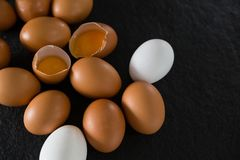 Huevos en fondo negro Foto de archivo