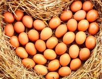 Huevos en forma de corazón colocados en la paja imagen de archivo libre de regalías
