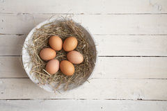 Huevos en heno Fotografía de archivo libre de regalías