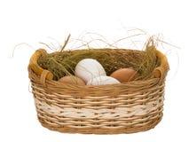 Huevos en la cesta Imágenes de archivo libres de regalías