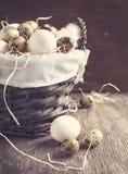 Huevos en la cesta. Imagen entonada Imágenes de archivo libres de regalías