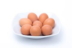 Huevos en un plato Foto de archivo libre de regalías