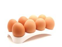 Huevos en una ayuda Foto de archivo