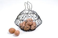 Huevos en una cesta Fotos de archivo libres de regalías
