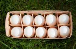 Huevos en una cesta de mimbre Foto de archivo libre de regalías